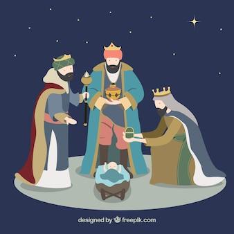 Ilustración de reyes magos