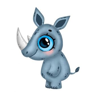 Ilustración de un rinoceronte de dibujos animados lindo con grandes ojos aislados