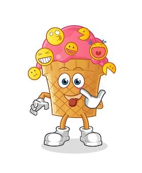 Ilustración de risa y burla de helado