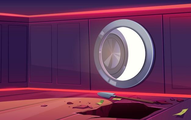 Ilustración de robo en caja fuerte del banco
