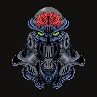 Ilustración de un robot alienígena o criatura extraterrestre con una cabeza que muestra su cerebro