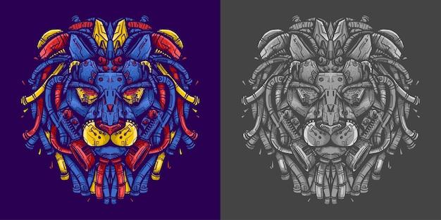 Ilustración de robot de cabeza de león para camiseta