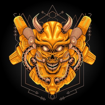 Ilustración de robot cráneo dorado geometría sagrada