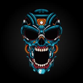 Ilustración de robot de cráneo mecha