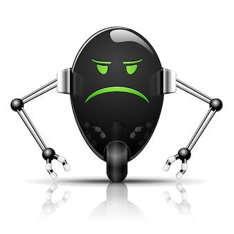 Ilustración robot evil egg divertidos dibujos animados en blanco
