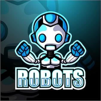 Ilustración de robot mascota esport