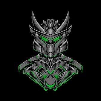 Ilustración de robot oscuro blindado con luz verde