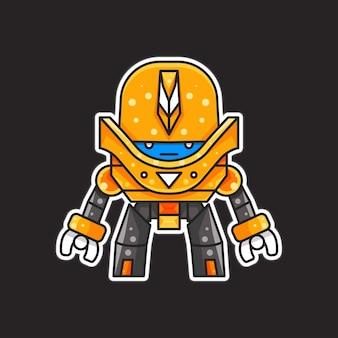 Ilustración de robot para personaje, etiqueta, camiseta ilustración