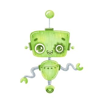 Ilustración del robot verde de dibujos animados lindo aislado en blanco