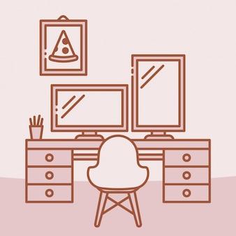 Ilustración roja de espacio de trabajo