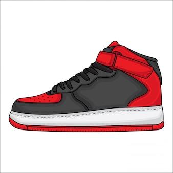 Ilustración roja del zapato de baloncesto