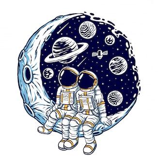 Ilustración romántica en la luna