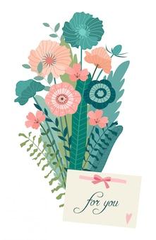 Ilustración romántica con un ramo de flores.