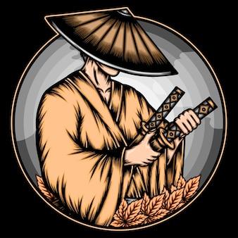 Ilustración ronin japonés.