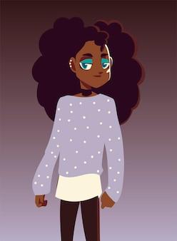 Ilustración de ropa de cultura juvenil de personaje de niña afroamericana