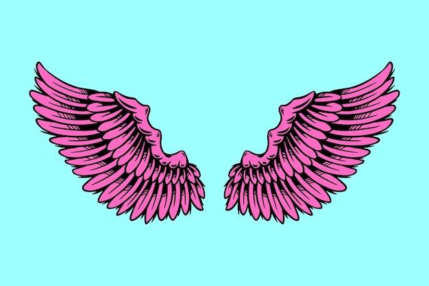 Ilustración rosa de diseño de alas de ángel