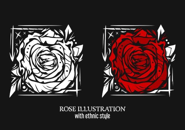 Ilustración de rosa con estilo étnico