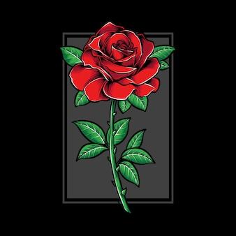 Ilustración y rosa roja