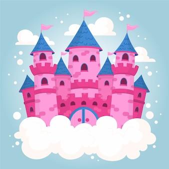 Ilustración rosada del castillo del cuento de hadas