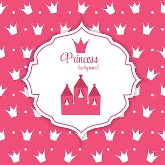 Ilustración rosada del vector del fondo de la corona de la princesa. eps10