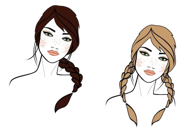 Ilustración del rostro de la mujer sobre fondo blanco coloreado