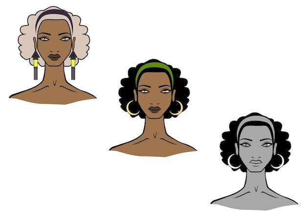 Ilustración del rostro de las mujeres africanas sobre fondo blanco.