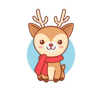 Ilustración rudolf deer kawaii