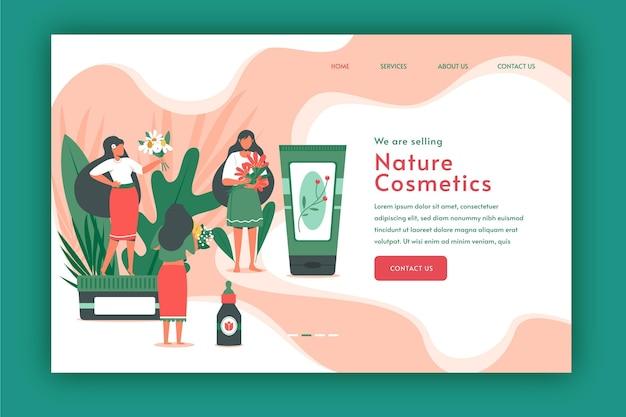 Ilustración de rutina de cuidado de la piel de mujer