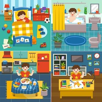 Ilustración de la rutina diaria del adorable niño durmiendo en la cama, tomando un baño en la bañera, desayunando, dibujando la imagen.