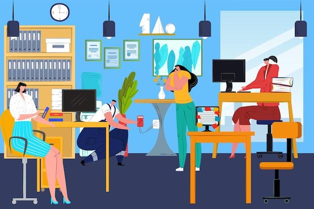 Ilustración de rutina de trabajo de oficina