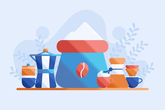 Ilustración de saco de café