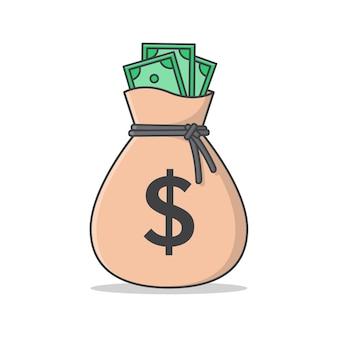 Ilustración de saco de dinero. bolsa de dinero plana