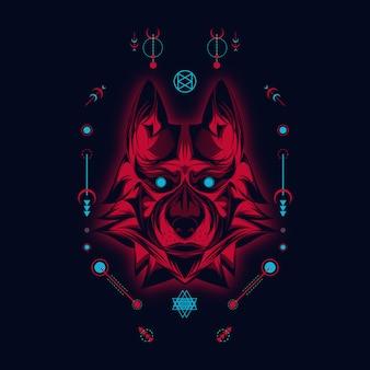 Ilustración sagrada y lobo