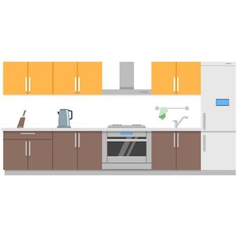 Ilustración de sala de cocina casera de vector interior de cocina