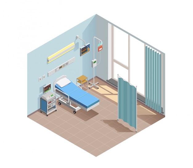 Ilustración de sala de equipos médicos
