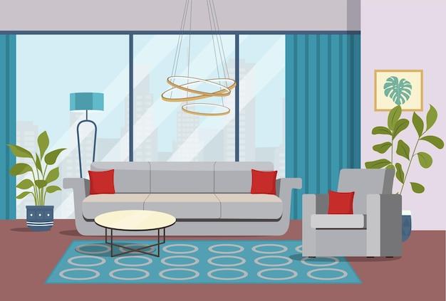 Ilustración de sala de estar interior