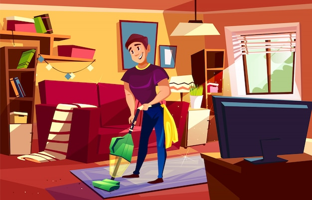 Ilustración de la sala de estar de limpieza del hombre de househusband o colegial con aspiradora