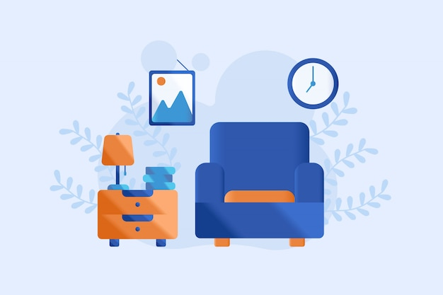 Ilustración de la sala de estar