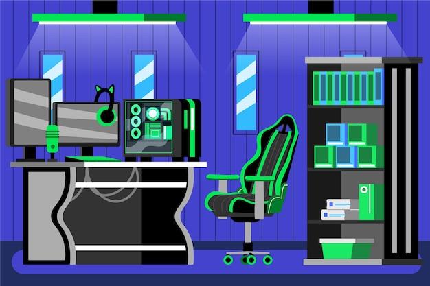 Ilustración de sala de juegos de dibujos animados