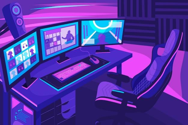 Ilustración de sala de jugador plana orgánica