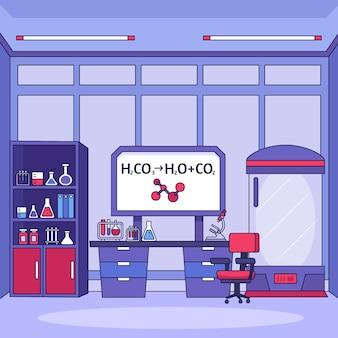 Ilustración de sala de laboratorio de dibujos animados