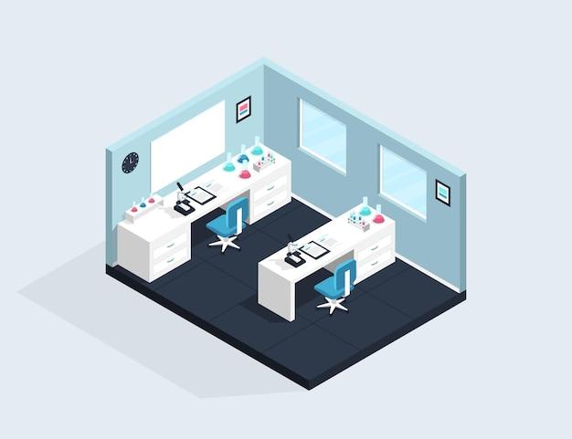 Ilustración de sala de laboratorio isométrica