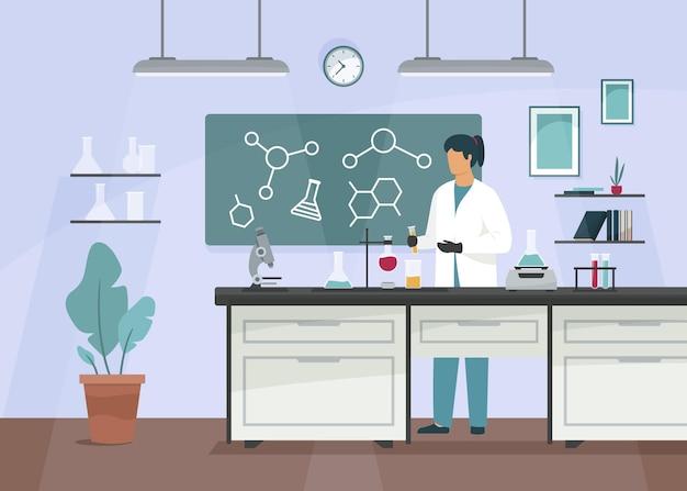 Ilustración de sala de laboratorio plana