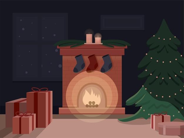 Ilustración de sala de navidad con chimenea