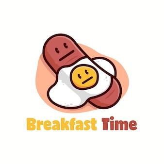 Ilustración de salchicha divertida y huevo soleado