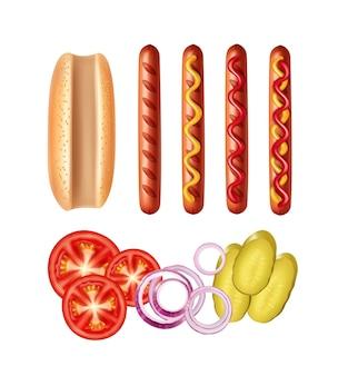 Ilustración de salchicha a la parrilla con diferentes salsas y verduras
