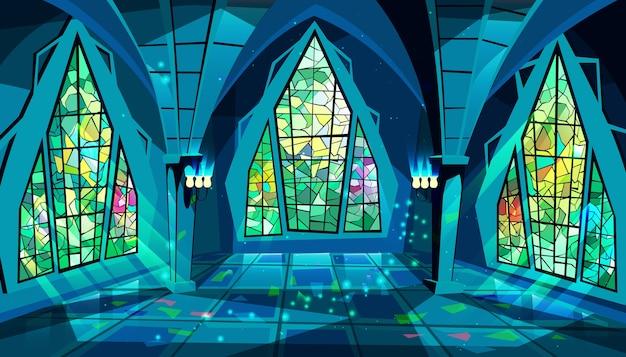 Ilustración del salón de baile o del palacio de la sala gótica real en la noche con vidrieras