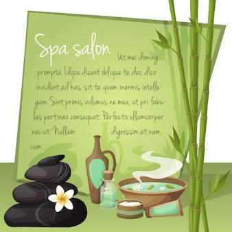 Ilustración de salón de spa con plantilla de texto