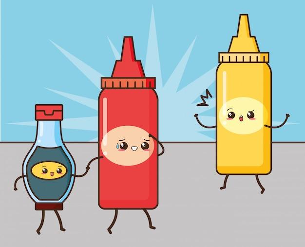 Ilustración de salsas lindas de comida rápida kawaii