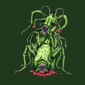 Ilustración de saltamontes monstruo aterrador